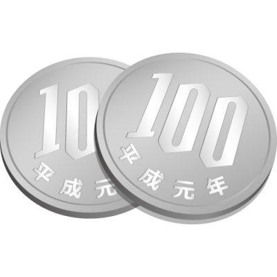 2枚重なる百円玉硬貨のイラスト