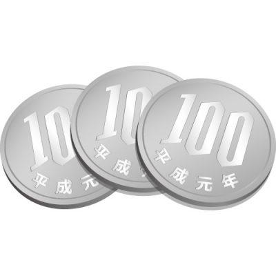 3枚重なる百円玉硬貨のイラスト