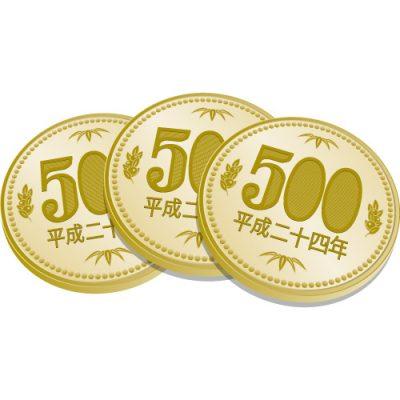 3枚重なった五百円玉硬貨のイラスト