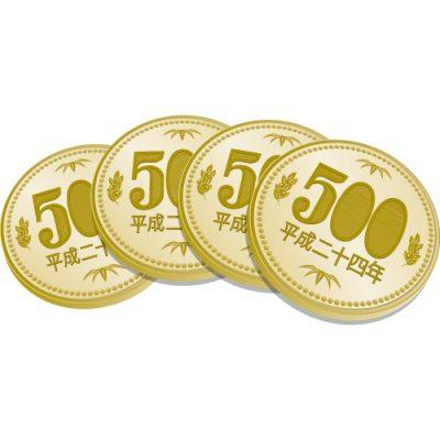 4枚重なった五百円玉硬貨のイラスト