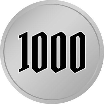 1000と書かれた百円玉風硬貨のイラスト