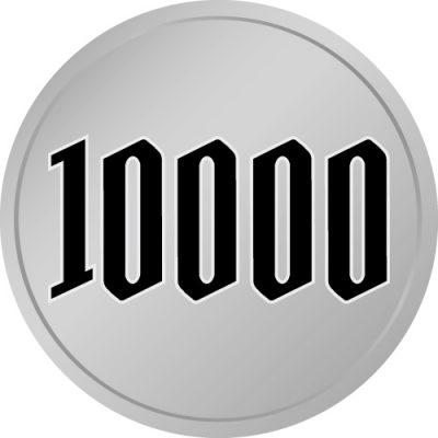 10000と書かれた百円玉風硬貨のイラスト