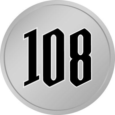 108と書かれた百円玉風硬貨のイラスト