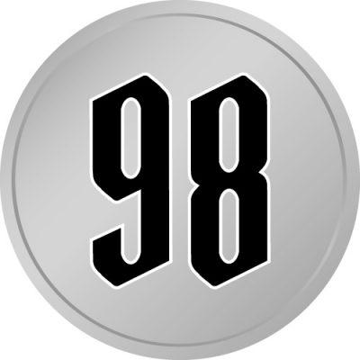 98と書かれた百円玉風硬貨のイラスト