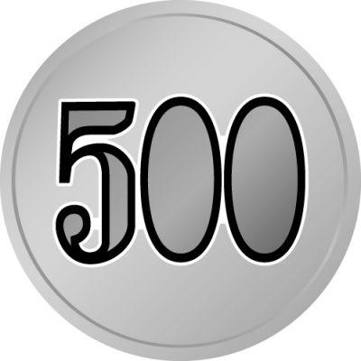 500と書かれたワンコイン的な硬貨風イラスト