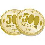 2枚重なった五百円玉硬貨のイラスト