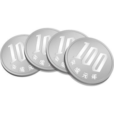 4枚重なる百円玉硬貨のイラスト