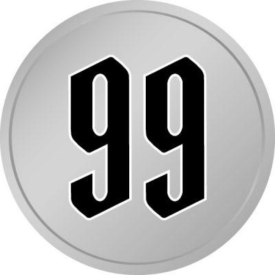 99と書かれた百円玉風硬貨のイラスト
